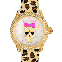 Betsey Johnson Watch, Women&#x27;s Leopard Print Patent Leather Strap 41mm BJ00019-25 - Betsey Johnson - Jewelry &amp; Watches - Macy&#x27;s