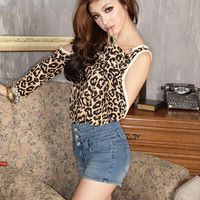 European Fashion Special Sleeve Black Leopard Tops : Wholesaleclothing4u.com