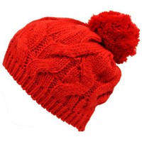 Red Twisted Cable Knit Winter Pom-Pom Beanie Hat