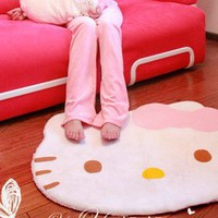 Hello Kitty diecut face shape Area Rug 30 X 25 inches