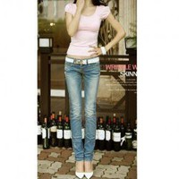Fashionable Mix-Matched Pencil Slim Jeans  - Sammydress.com