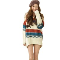 Huafeng Fawn Colored Stripe Loose Xmas Sweaters Womens