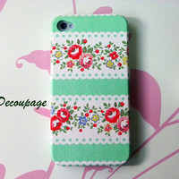 Rose in White and Light Green Stripe  iPhone 4 Case  by AdaFashion