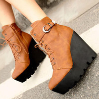 Street Fashion Drawstring Brown Ladies Wedges : Wholesaleclothing4u.com