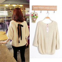 New Cute Stylish Korean Tan Sexy Open Tye Back Knit Jumper Top UK 8 10 12