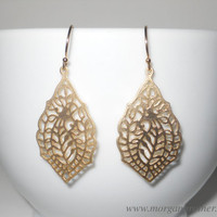 Paisley Pendant Dangle Earrings in Gold by morganprather on Etsy