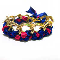 Chunky Gold Braided Chain Bracelet / Dark Blue and Pink