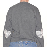 Heart Elbow Sweatshirt, Elbow Heart Sweatshirt, Elbow Patch, Newsprint Heart Sweatshirt, Studded Collar Sweatshirt, E