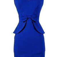 Royal Blue Peplum Pencil Dress with Bow Front Detail