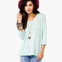 Marled Open Knit Top