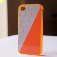 iphone case - orange geometric pattern and color block with orange case (BlissfulCASE Yellow line)