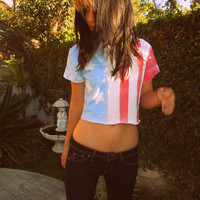 American flag Crop Top by NerdyYouthDenim on Etsy
