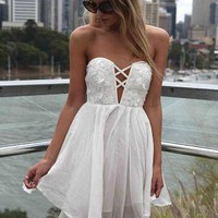 White Strapless Mini Dress with Sequin Cutout Bodice