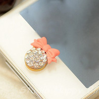 1PC Paved Bling Crystal Ball w/Pink Bow Apple by StudioHappyBird