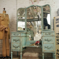 Vintage Painted Cottage Shabby Aqua Chic Vanity by paintedcottages