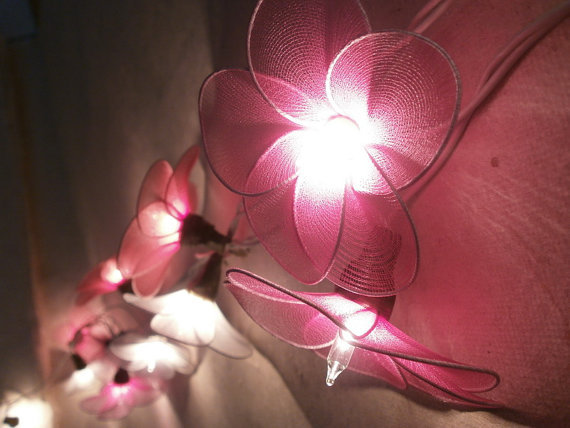 20 PCs. Pink Red and White nylon flower string lights with 3 m. wire and adapter for room and party decoration