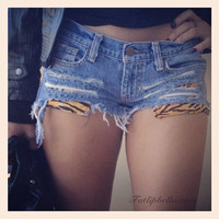 distressed ripped shorts with tiger stipe print by FatLipBella