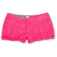 Volcom Girls Stone Roses Electric Pink Lace Shorts