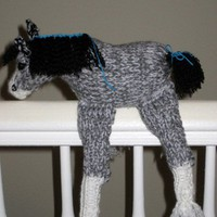 Stuffed Plush Clydesdale Draft Horse Gray White and Black Knitted