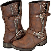 Breckelles Rocker-17 Brown Women Riding Boots, 10