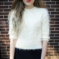 Customizable Fuzzy Cream Crop Sweater