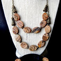 NATURAL GEMSTONE TIGERSKIN JASPER-NECKLACE,BRACELET,EARRINGS