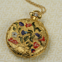 Colorful Flowers Locket Pendant Necklace, Vintage Pink, Purple and Blue Floral Enamel, Long Gold Chain, Large Vase, Round Perfume Carrier