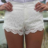 White Paisley Lace Overlay Shorts with Crochet Trim