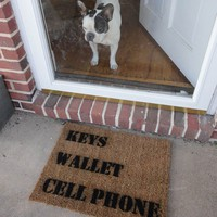 door mat KEYS Wallet CELL Phone under 50 by damngooddoormats