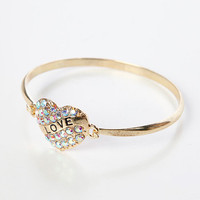 Papaya Clothing Online :: RHINESTONED HEART BRACELET