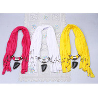 Cotton purity triangle rhinestone 10 colors tassels pendant necklace scarf