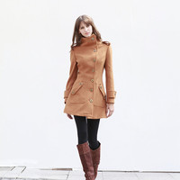 Camel Fitted Cashmere Coat Military Jacket Winter Wool Coat Women Coat - Custom Made - NC447