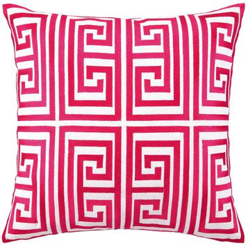 Trina Turk Greek Key Magenta Embroidered Linen Pillow
