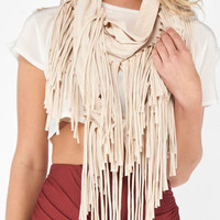 Fringe Eternity Scarf in Cream :: tobi