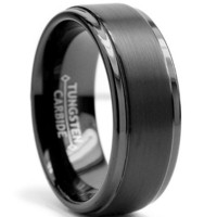 8MM Black High Polish / Matte Finish Men's Tungsten Ring Wedding Band Sizes 6 to 15 $24.99 #bestseller ($20-50)