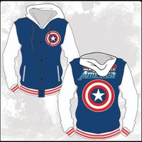 Prodigy -- Captain America -- Marvel Comics Hoodie Snap-Fleece Letterman Jacket, Small