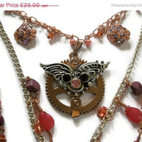 On Sale 25% off Necklace Steampunk jewelry Multistrand necklace steampunk wings  Multi Chain Necklace Copper Silver pink coral necklace rem