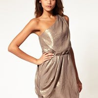 ASOS | ASOS One Shoulder Drape Dress in Metallic at ASOS