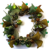 Beaded Jewellery Charm Bracelet Antique Brass chunky chain Green Brown Gold Lucite Flowers Lampwork Beads