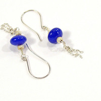 Blue Sapphire Earrings with Silver Chain Tassels