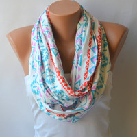 infinity scarf - aztec tribal patterned cotton jersey infinity scarf loop scarf circle scarf winter scarf christmas gifts birthday gifts