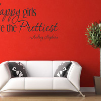 Happy Girls Are The Prettiest Vinyl Quote Wall Decal Audrey Hepburn Home Decor (83)