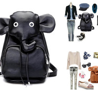 Cute Elephant Travel PU Backpack