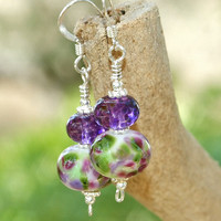 Purple Green Handmade Lampwork Earrings Spring OOAK Beaded Jewelry