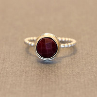 Rose Cut Ruby Ring, Handmade in Sterling Silver and 14Kt Gold to your custom size