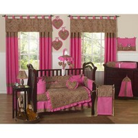 Amazon.com: Cheetah Animal print Pink and Brown Baby Girl Bedding 9pc Crib Set: Baby