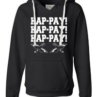 Happy Birthday! - Womens Hap-pay Hap-pay Hap-pay Happy Happy Happy Duck Dynasty Duck Hunting Deluxe Soft Fashion Hooded Sweatshirt Hoodie