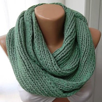 ON SALE Hand knitted scarf...green ..... Infinity Scarf Loop Scarf Circle Scarf ..
