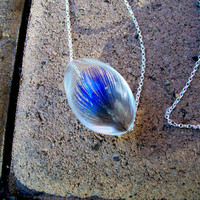 Peacock Feather Necklace on a Long Sterling Silver Chain with Unique Clasp