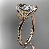 14kt rose gold diamond unique engagement ring,wedding ring ADLR166